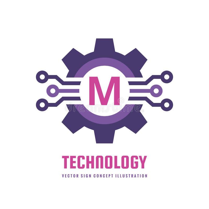 Teknologibokstav M - illustration för begrepp för vektorlogomall Tecken för kugghjulkugghjulabstrakt begrepp Idérikt digitalt sym stock illustrationer