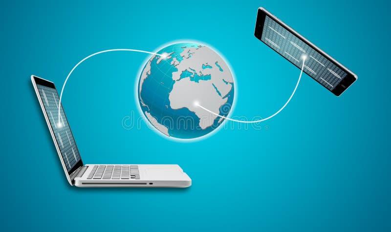 Teknologidatorbärbar dator med den sociala nätverksstrukturen arkivbilder