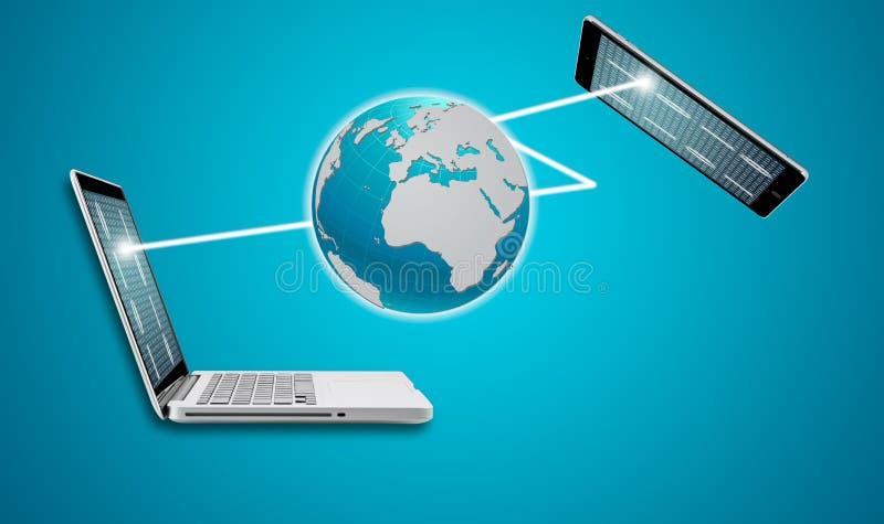 Teknologidatorbärbar dator med den sociala nätverksstrukturen fotografering för bildbyråer