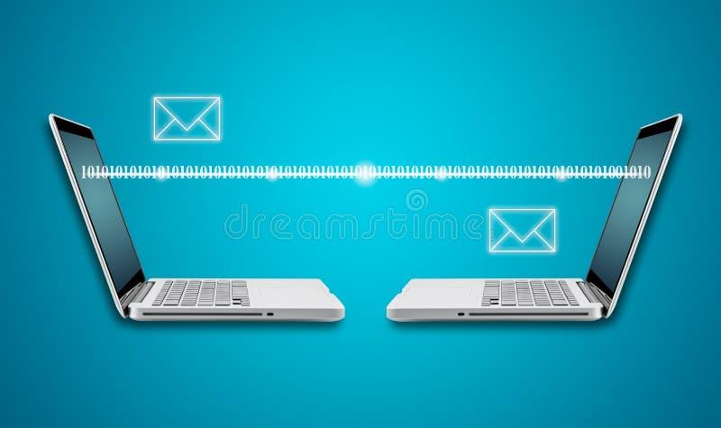 Teknologidatorbärbar dator med den sociala nätverksstrukturen arkivfoto