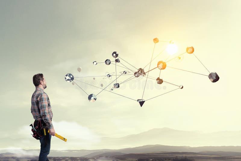 Teknologier som förbinder världen Blandat massmedia royaltyfria foton