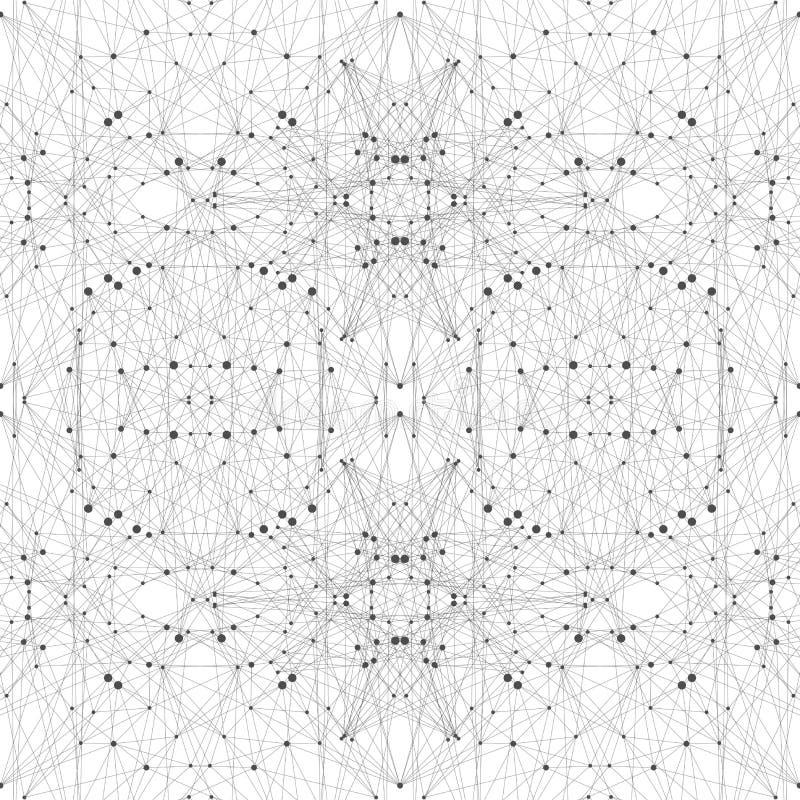 Teknologigrå färgillustration Förbindelselinjer med prickar vektor illustrationer
