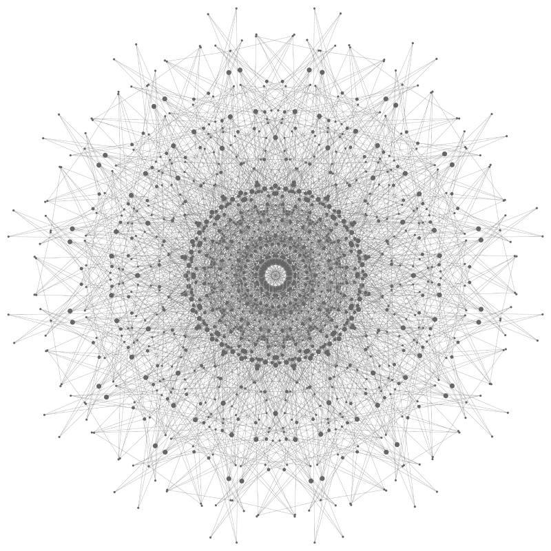 Teknologigrå färgillustration Förbindelselinjer med prickar stock illustrationer