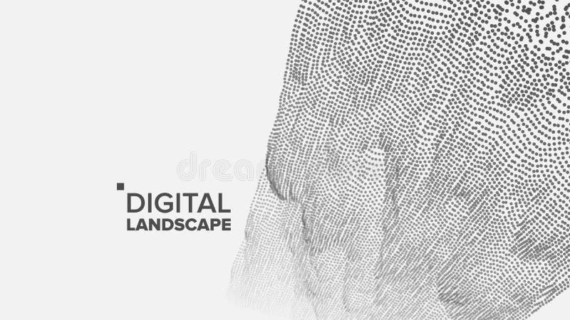 Teknologilandskapvektor Techyttersida Dot Land Geometriska data Partikel Wireframe Stort flöde illustration 3d stock illustrationer