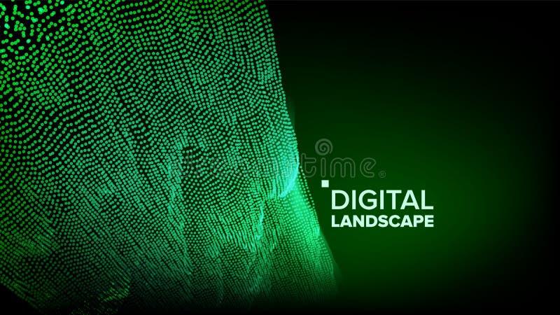 Teknologilandskapvektor Techyttersida Dot Land Geometriska data Partikel Wireframe Stort flöde illustration 3d royaltyfri illustrationer