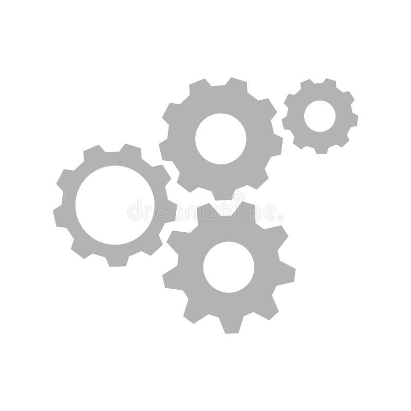 Teknologimekanismbegrepp Abstrakt bakgrund med inbyggda kugghjul och symboler för digitalt, internet, knyter kontakt, förbinder, stock illustrationer