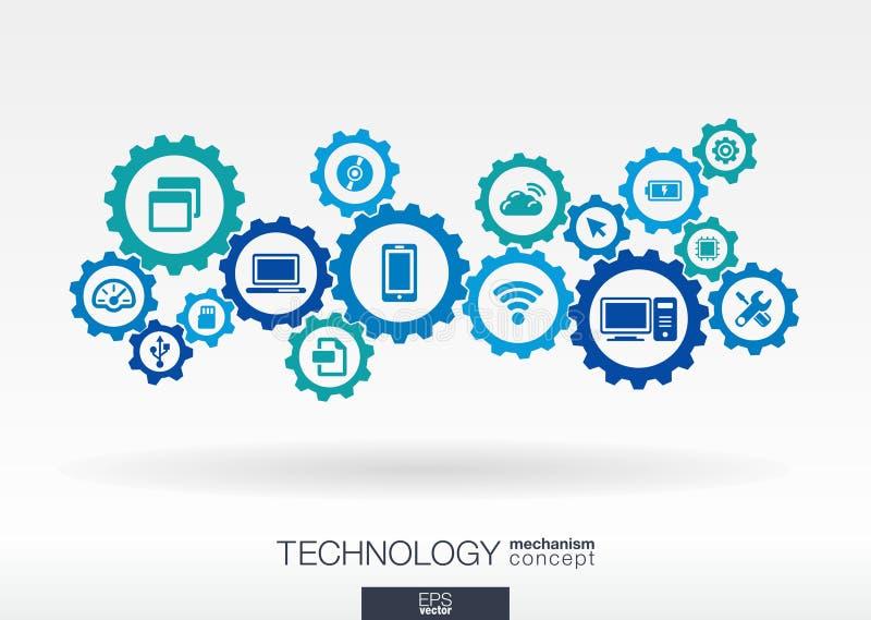 Teknologimekanismbegrepp Abstrakt bakgrund med inbyggda kugghjul och symboler för digitalt, internet, nätverk stock illustrationer