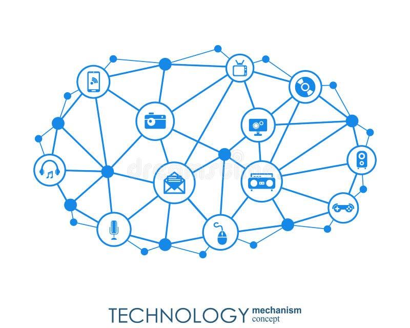 Teknologimekanismbegrepp Abstrakt bakgrund med inbyggda kugghjul och symboler för digitalt, strategi, internet stock illustrationer