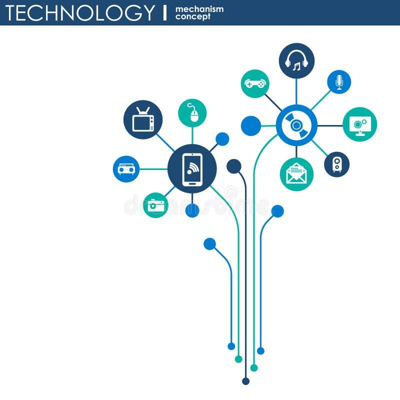Teknologimekanismbegrepp Abstrakt bakgrund med inbyggda kugghjul och symboler för digitalt, strategi, internet, nätverk, connec stock illustrationer