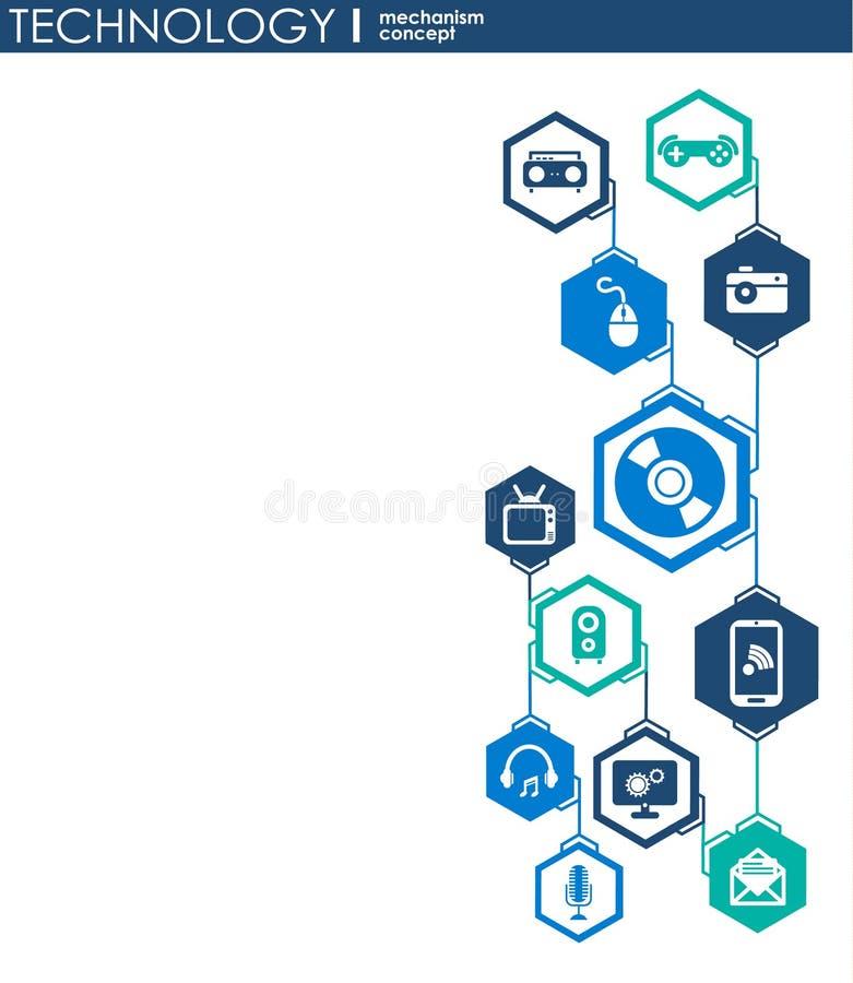 Teknologimekanismbegrepp Abstrakt bakgrund med inbyggda kugghjul och symboler för digitalt, strategi, internet, nätverk, connec vektor illustrationer
