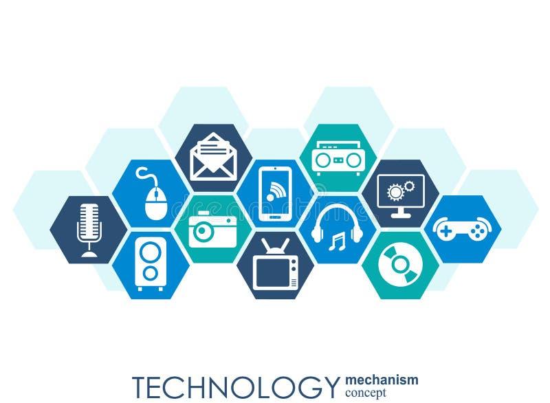 Teknologimekanismbegrepp Abstrakt bakgrund med inbyggda kugghjul och symboler för digitalt, strategi, internet, nätverk, connec royaltyfri illustrationer