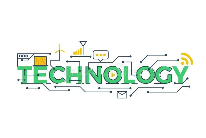 Teknologiordillustration stock illustrationer