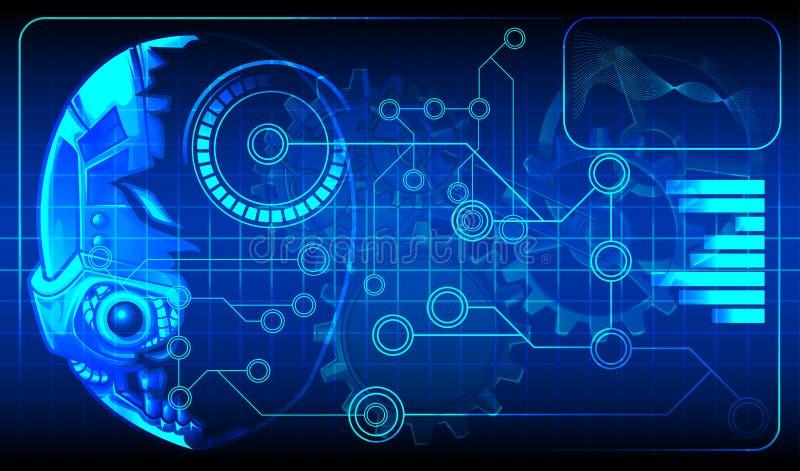 Teknologiritningdiagram av konstgjord intelligens för android royaltyfri illustrationer