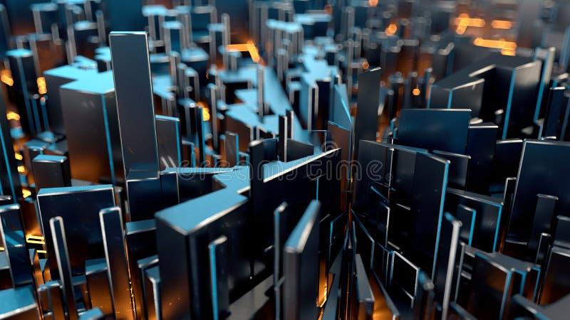 Teknologisk abstrakt bakgrund med neonbelysning och dof-effekt royaltyfri fotografi