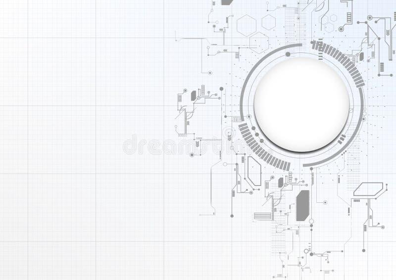 Teknologisk abstrakt teknisk digital beståndsdelbrädebakgrund royaltyfri illustrationer