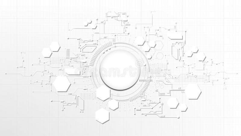 Teknologisk abstrakt teknisk digital tex för beståndsdelbrädevit vektor illustrationer