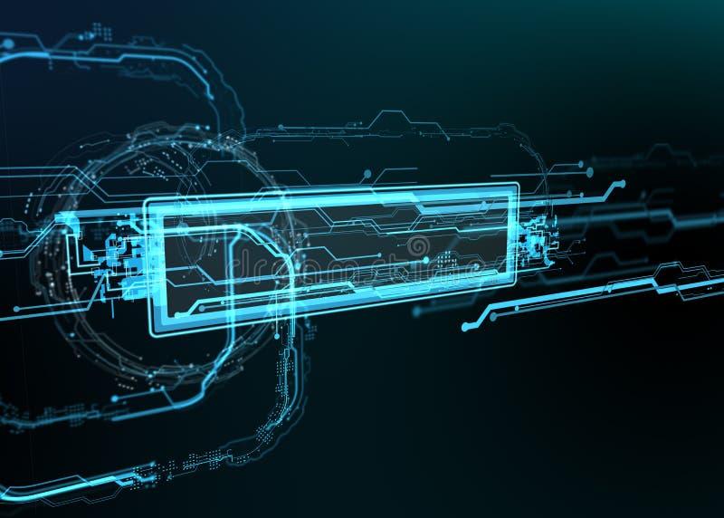 Teknologisk bakgrund av futuristiska linjer och beståndsdelar vektor illustrationer