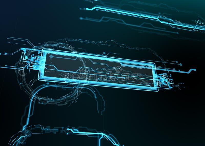 Teknologisk bakgrund av futuristiska linjer och beståndsdelar royaltyfri illustrationer