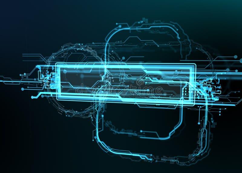 Teknologisk bakgrund av futuristiska linjer och beståndsdelar Utrymme för ditt meddelande royaltyfri illustrationer