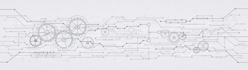 Teknologisk bakgrund med kugghjulhjul royaltyfri illustrationer