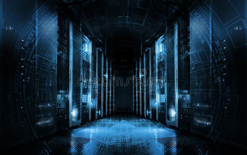 Teknologisk bakgrund på serveror i datorhallen, futuristisk design Serverrum som föreställs av flera serverkuggar med starkt royaltyfri illustrationer