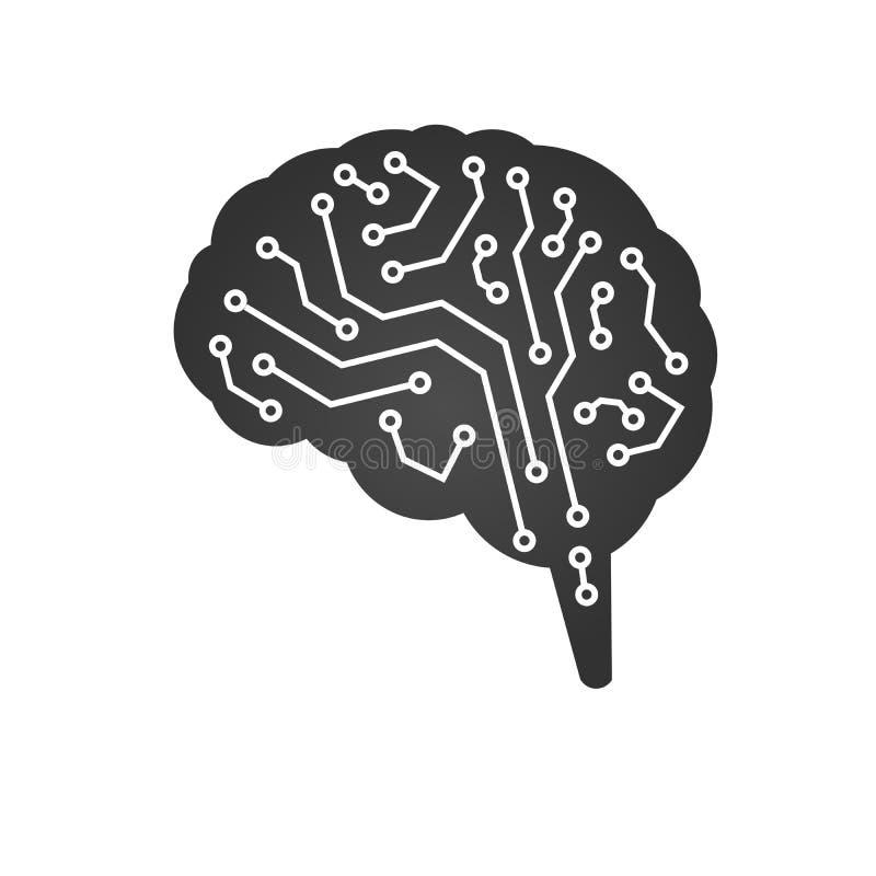 Teknologisk hjärna som bakgrundsbrädet kan circuit bruk Abstrakt vektorillustration som isoleras på vit bakgrund royaltyfri illustrationer