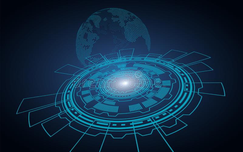 Teknologisk mörk bakgrund Datorcirkel som det finns ett hologram från av planetjord royaltyfri illustrationer