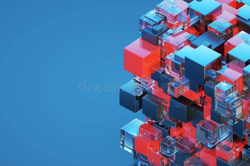 Teknologisk visualization för illustration 3D för kub 3D för abstraktion 3d vektor illustrationer