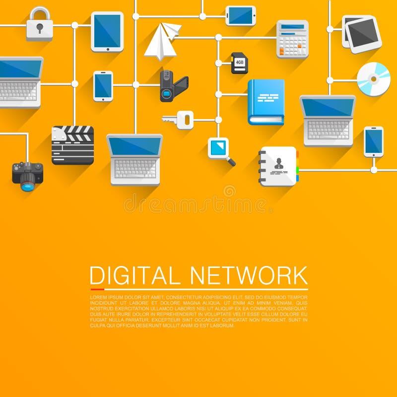 Teknologiska nätverkslägenhetsymboler vektor illustrationer