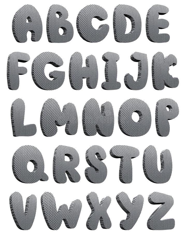 teknologiskt alfabet 3d royaltyfri illustrationer