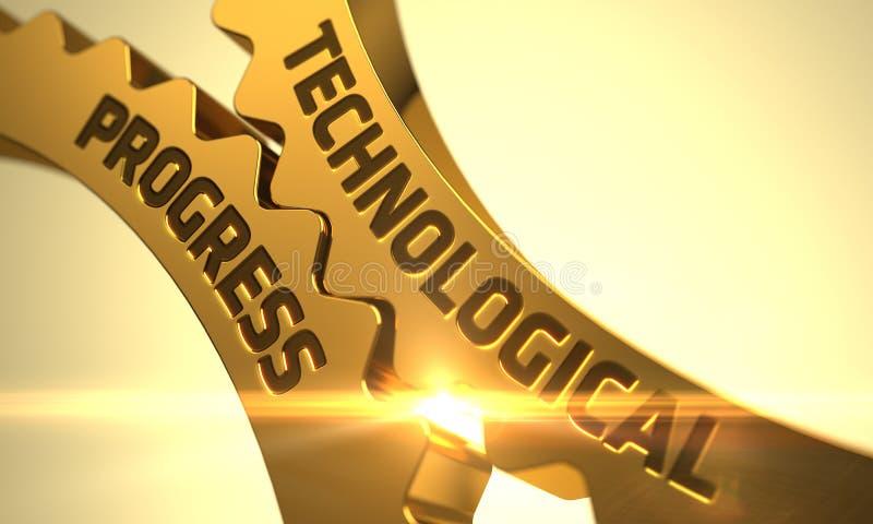 Teknologiskt framstegbegrepp Guld- cogwheels illustration 3d stock illustrationer