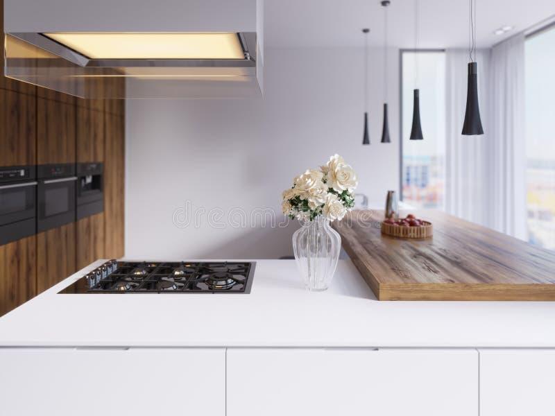 Teknologiskt modernt kök i en minimalist stil med en ny generation av anordningar Hob upplyst exponeringsglashuv, tak royaltyfri illustrationer