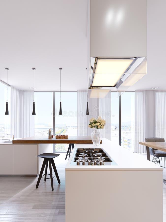 Teknologiskt modernt kök i en minimalist stil med en ny generation av anordningar Hob upplyst exponeringsglashuv, tak stock illustrationer