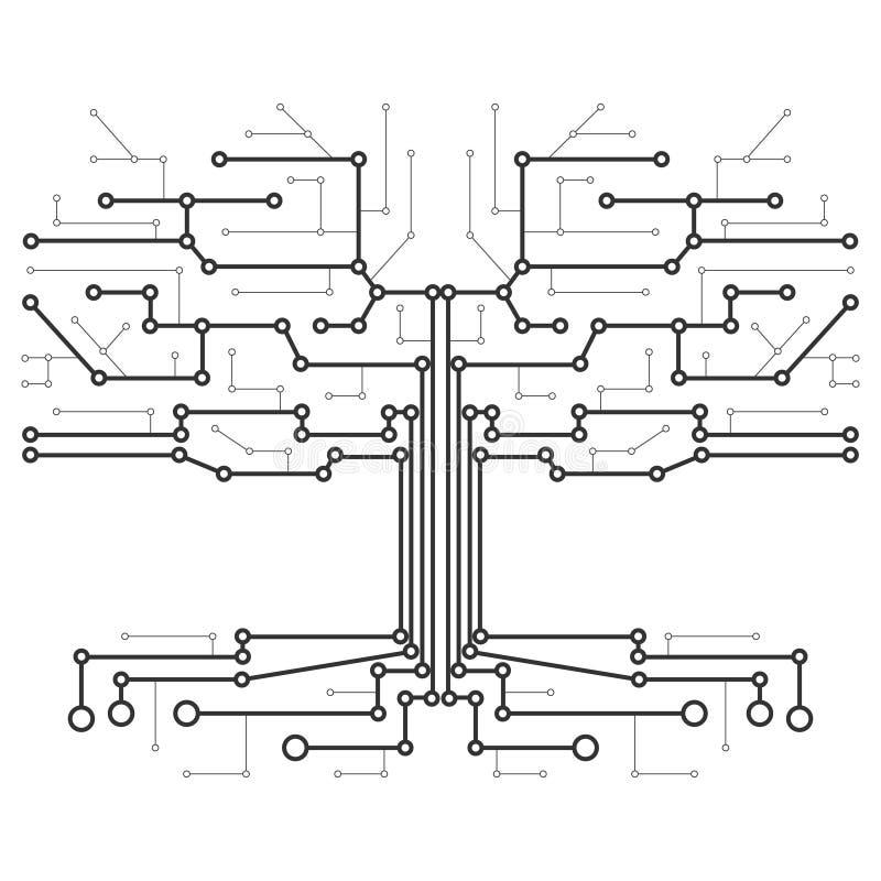 Teknologiskt träd i form av ett bräde för utskrivaven strömkrets royaltyfri illustrationer