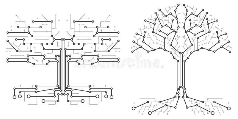 Teknologiskt träd i form av ett bräde för utskrivaven strömkrets stock illustrationer