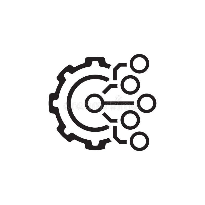 Teknologisymbol Kugghjul och elektroniskt Digital fabrikssymbol royaltyfri illustrationer