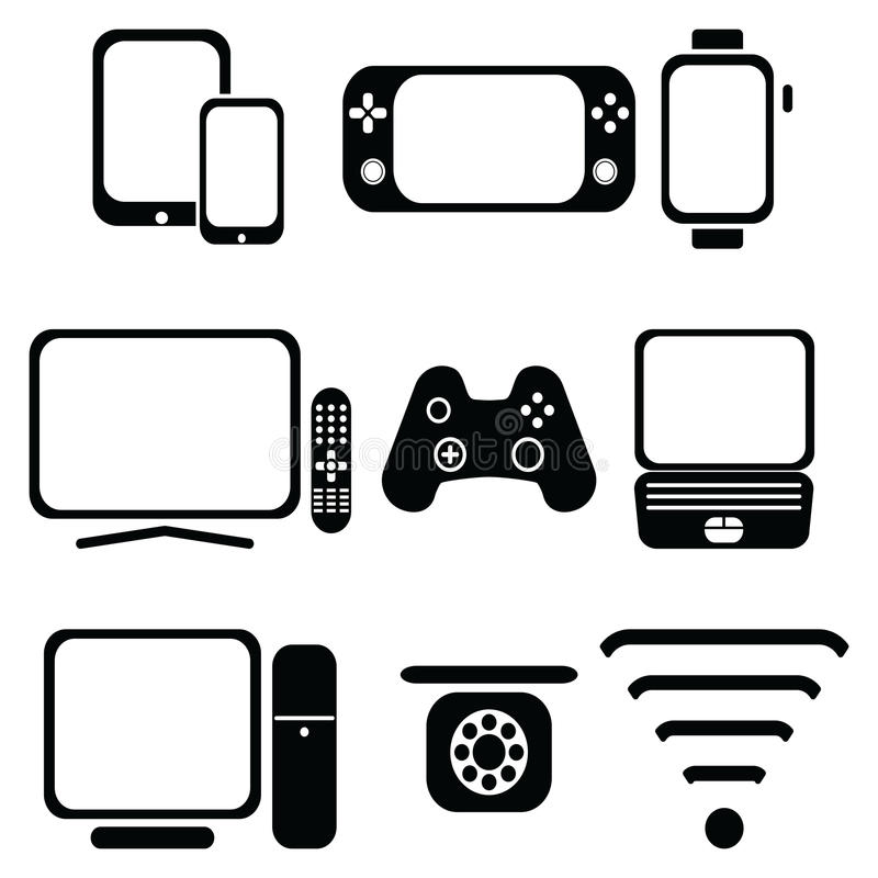 Teknologisymboler ställde in med minnestavlan, mobiltelefonen, den smarta klockan, lekkonsolen, smart tv, spelarestyrspaken för d royaltyfri illustrationer