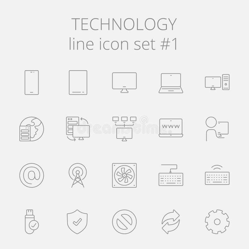 Teknologisymbolsuppsättning stock illustrationer