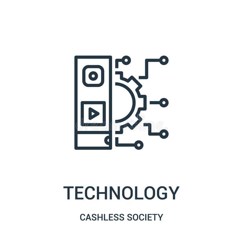 teknologisymbolsvektor från cashless samhällesamling Tunn linje illustration för vektor för teknologiöversiktssymbol royaltyfri illustrationer