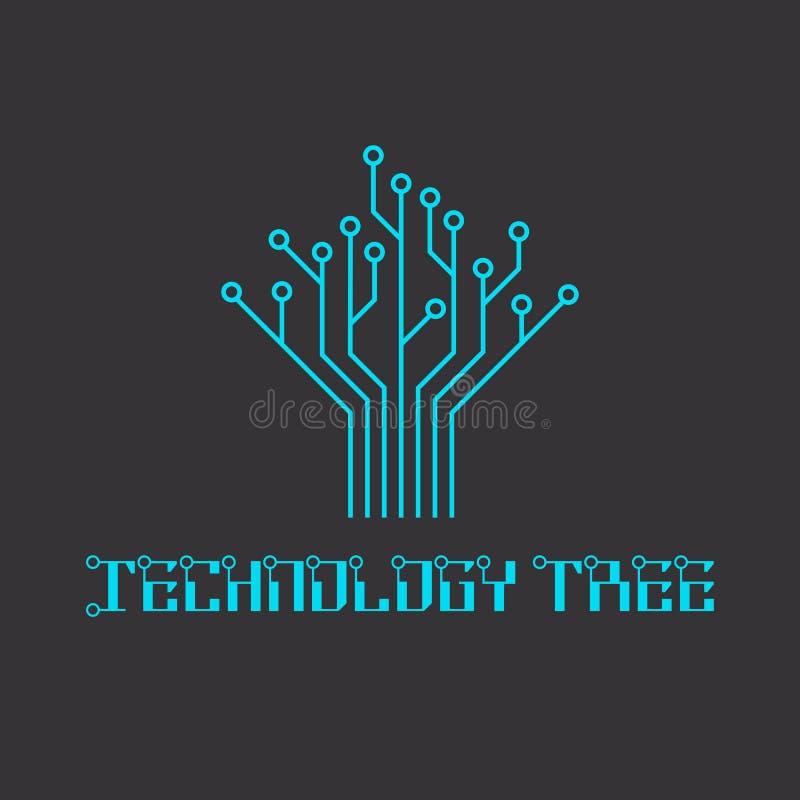 Teknologiträd av microcircuiten som iscensätter logo stock illustrationer