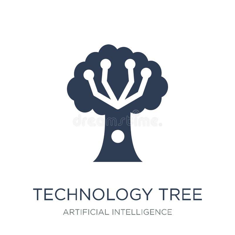 teknologiträdsymbol Moderiktig plan symbol för vektorteknologiträd på vektor illustrationer