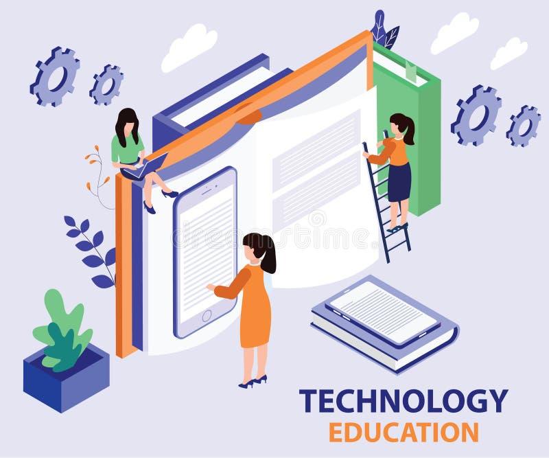 Teknologiutbildning som ges i ett isometriskt konstverkbegrepp för bok stock illustrationer