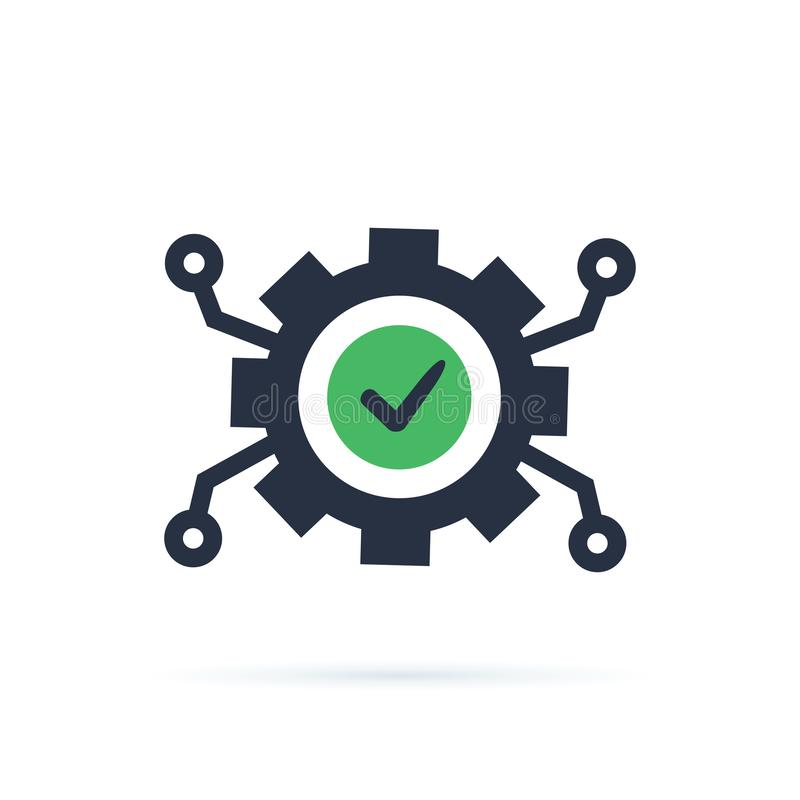 Teknologiutveckling, kugghjul och kontrollfläck, innovationbegrepp, systemintegration, programvaruaffär som är teknisk vektor illustrationer