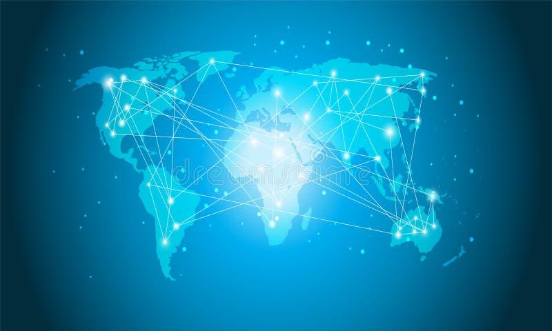 Teknologivärldskartan, globalt massmedia överför, designen för det Digitala nätverket för anslutningsbegreppet för Website vektor illustrationer