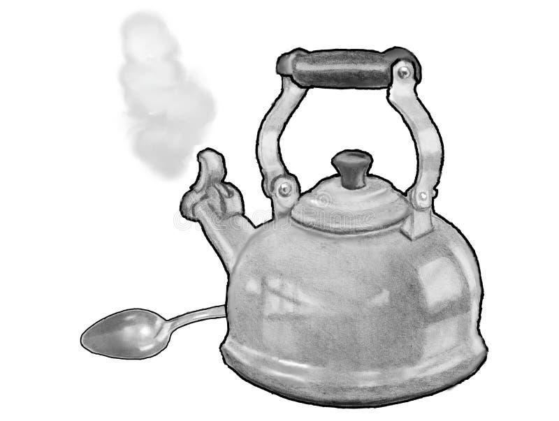 Tekokkärlet med skeden, koka vatten, ritar teckningen, grafit arkivbilder