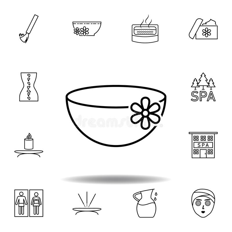 Tekopp med blomma?versiktssymbolen Detaljerad uppsättning av brunnsorten och att koppla av illustrationsymbolen Kan anv?ndas f?r  vektor illustrationer