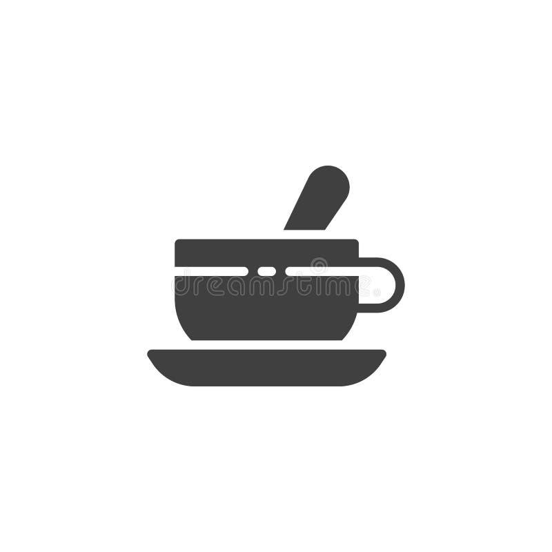 Tekopp med tesked- och tefatvektorsymbolen royaltyfri illustrationer