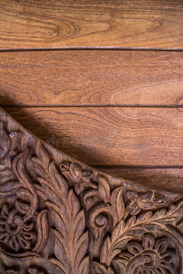 Tekowy drewna rzeźbić ŻADNY 008 zdjęcie royalty free