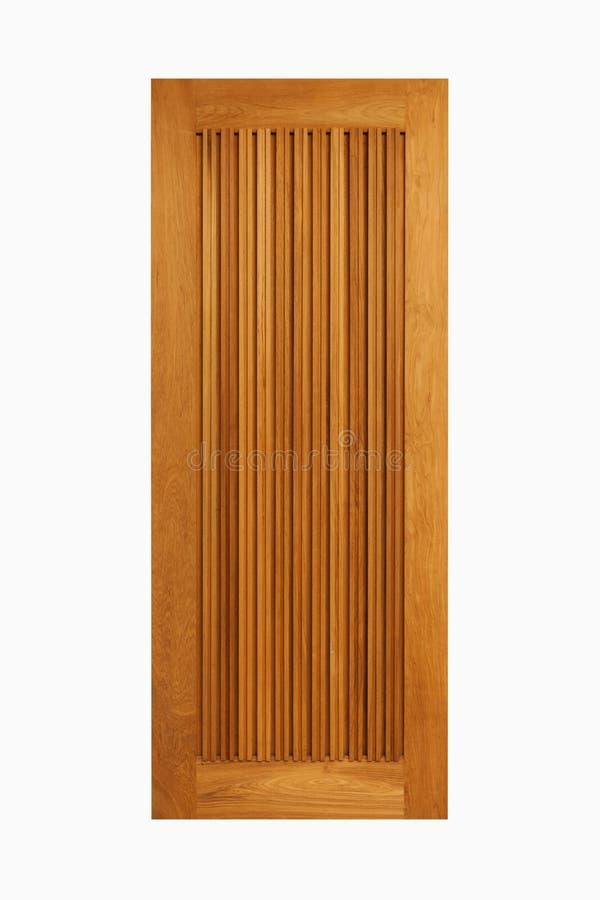 Tekowy drewniany drzwiowy panel na odosobnionym białym tle zdjęcie royalty free