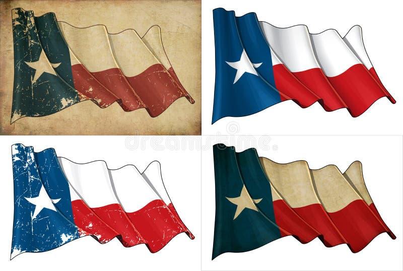 Teksas falowania flaga set ilustracja wektor